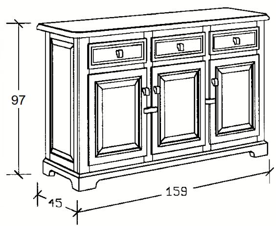 Aparador rústico de madera 159cm