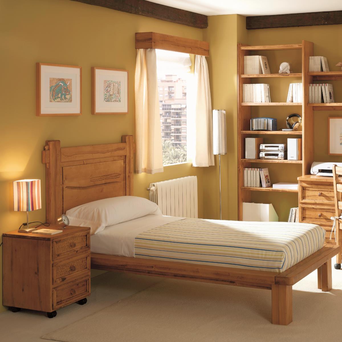 Cama r stica thick de madera ecor stico venta de muebles for Cama rustica de madera