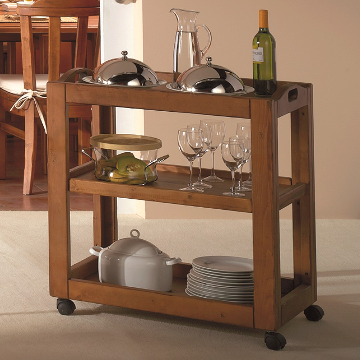 Carrito auxiliar r stico de madera ecor stico venta de muebles - Botelleros de madera rusticos ...