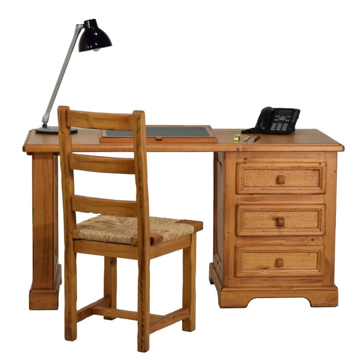 Escritorio r stico de madera peque o cajones ecor stico for Bar de madera pequeno