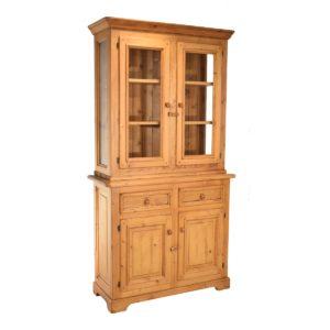 Aparador-vitrina rústico pequeño de madera