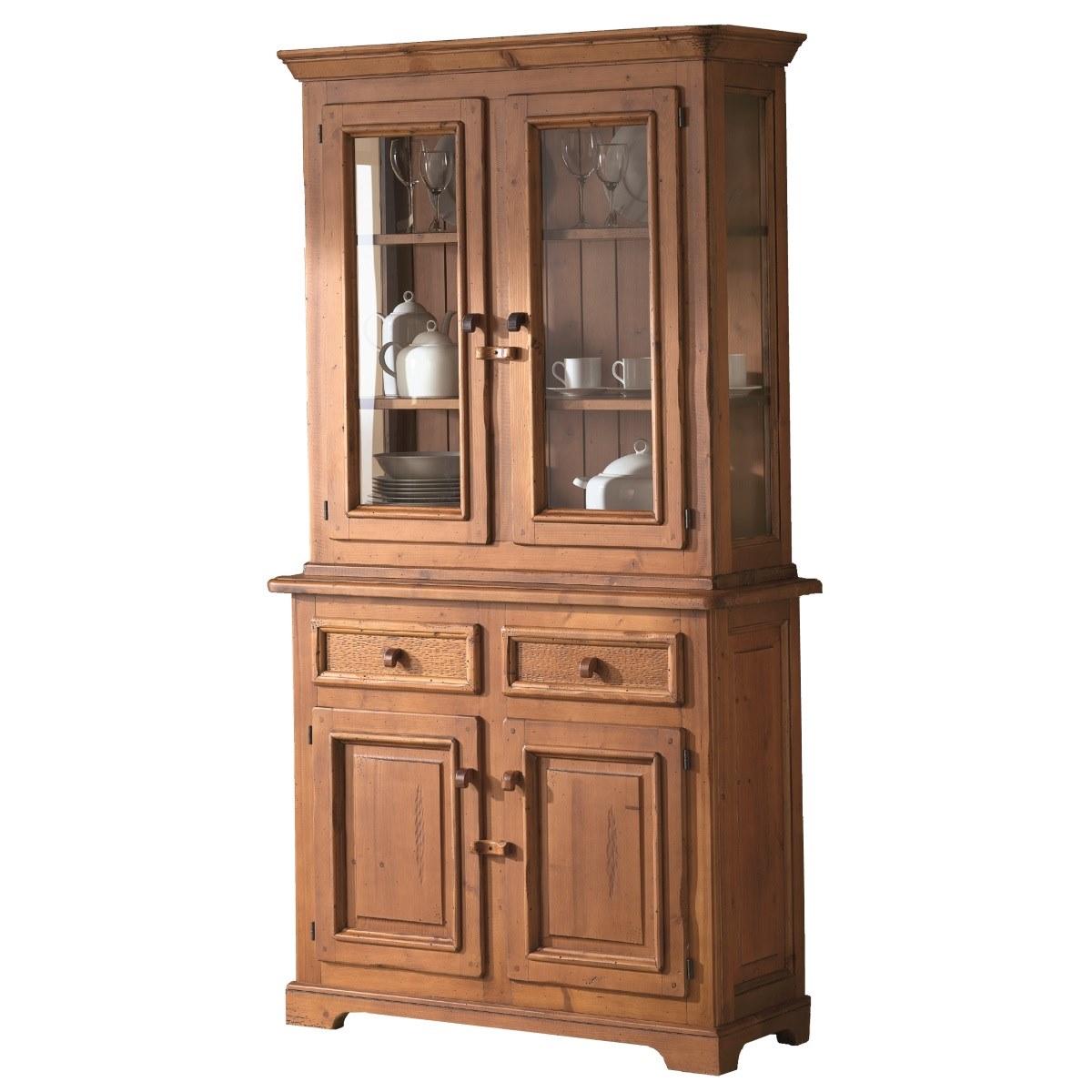 Aratu Artesanato Ubatuba ~ Aparador vitrina rústico pequeño de madera