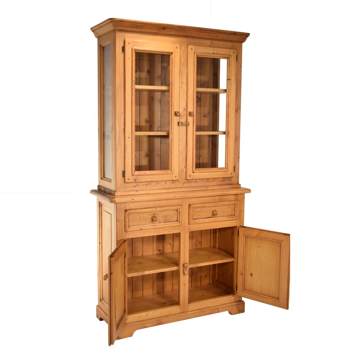 Aparador vitrina r stico peque o de madera for Vitrinas y aparadores de comedor