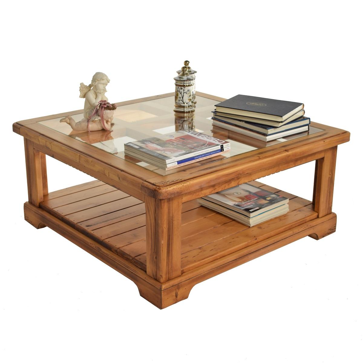 Mesa centro r stica cuadrada de 100cm ecor stico venta de for Centros de mesa de madera