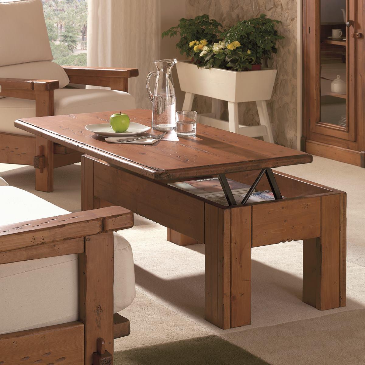 Mesa de centro r stica elevable ecor stico venta de muebles for Mesas de centro rusticas baratas