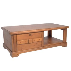 Mesa centro rústica rectangular cajón