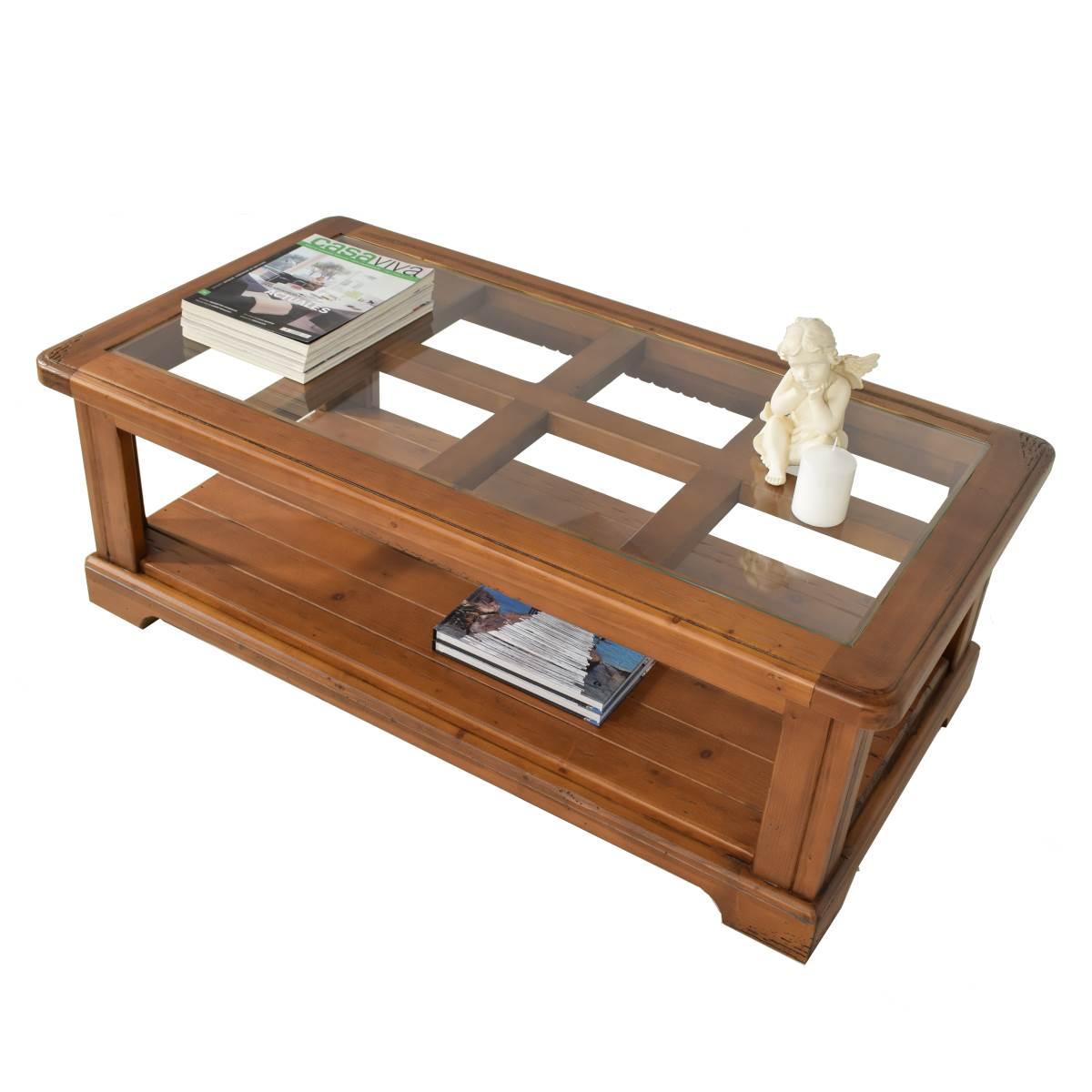 Mesa centro r stica rectangular sobre de cristal - Mesa centro madera y cristal ...