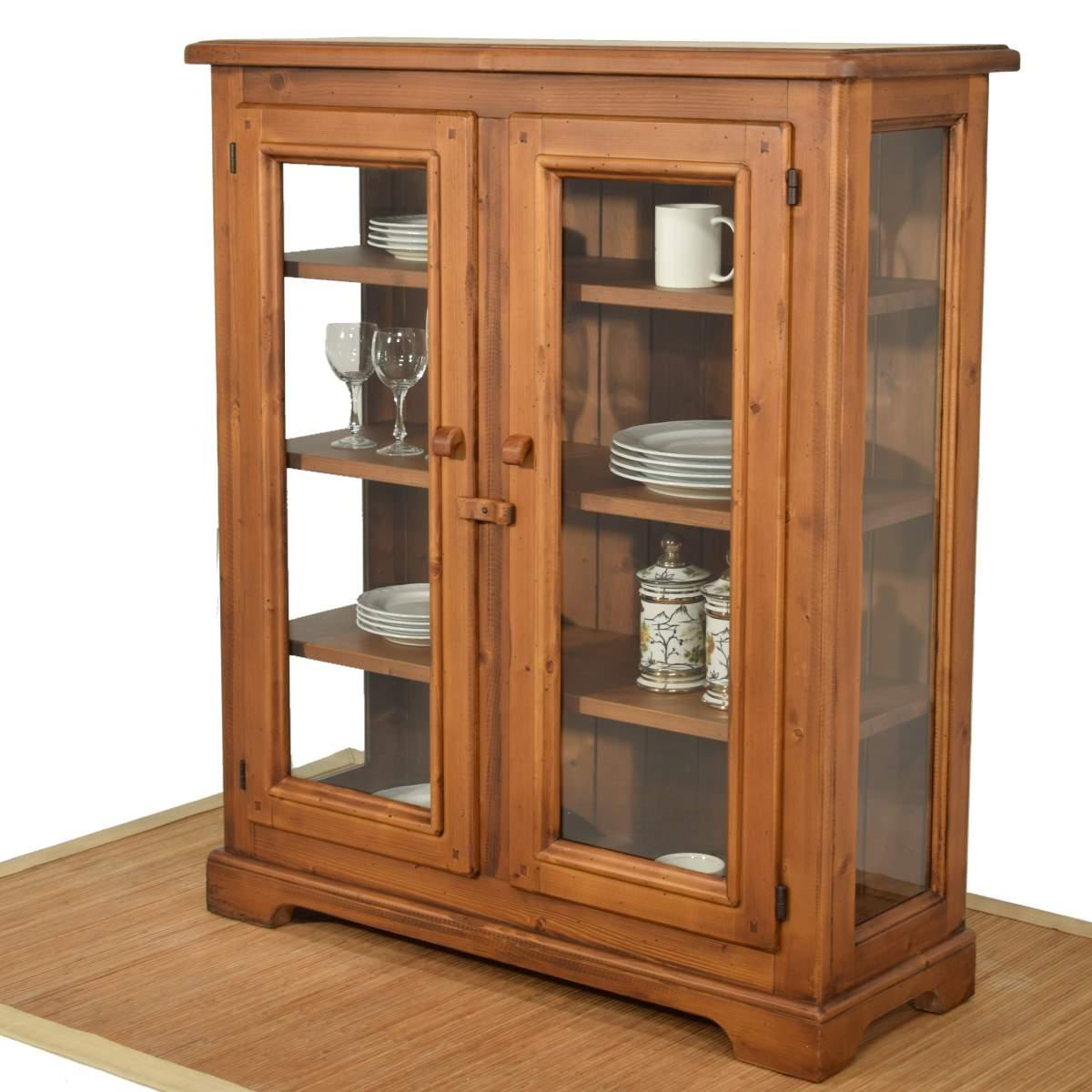 Vitrina baja r stica dos vidrieras de madera ecor stico for Muebles de anticuario