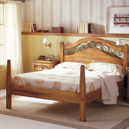 Cama rústica Forja de madera