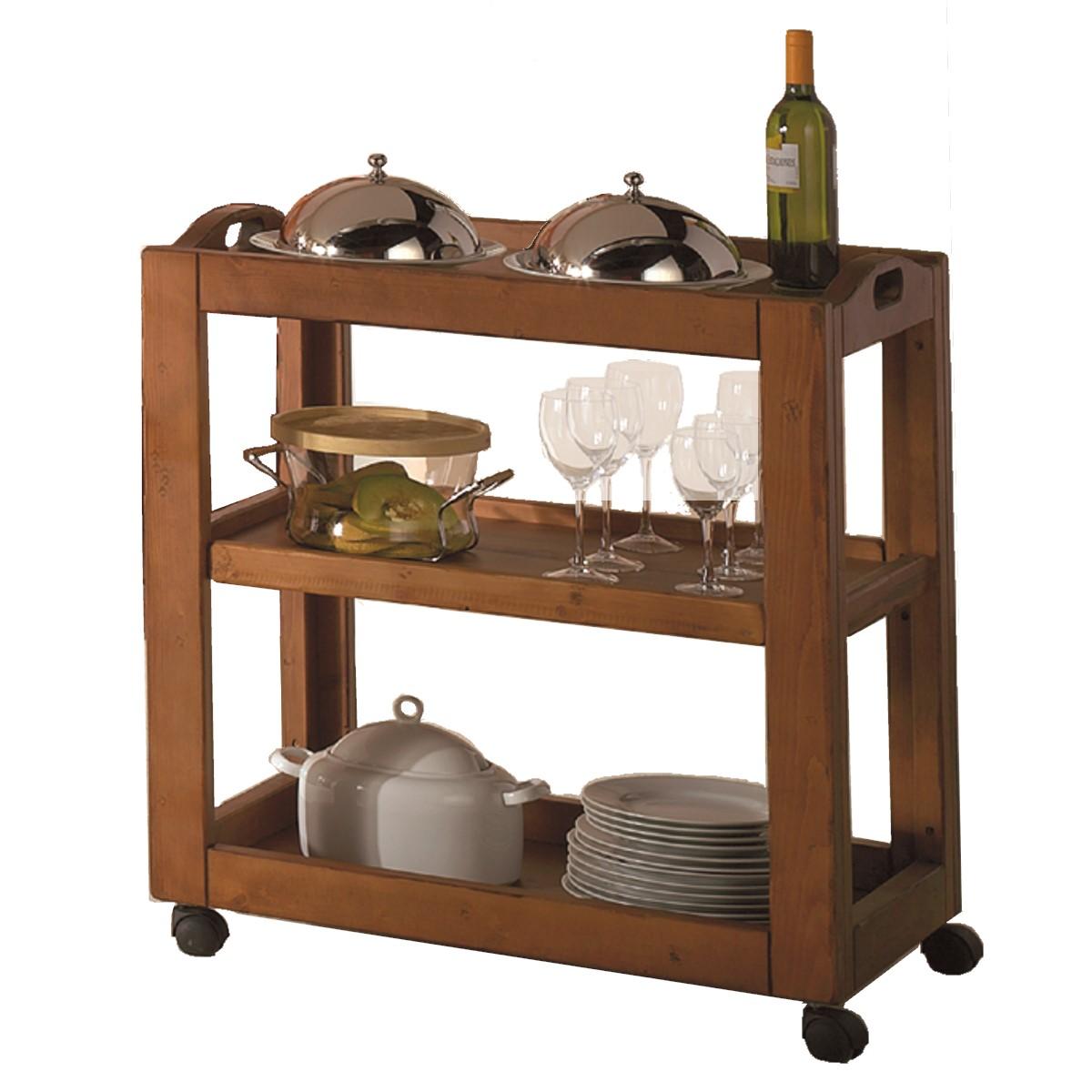 Carrito auxiliar r stico de madera ecor stico venta de for Mueble auxiliar rustico