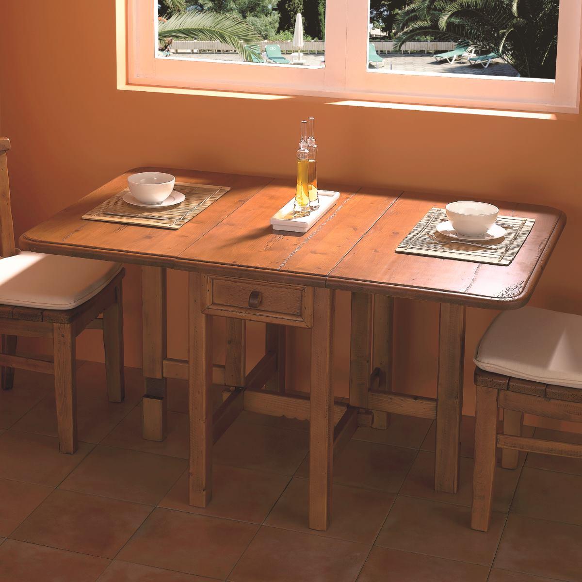 Mesa de madera r stica abatible con caj n 142cm for Mesa de salon abatible