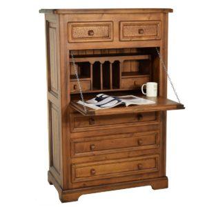 Escritorio secreter rústico de madera