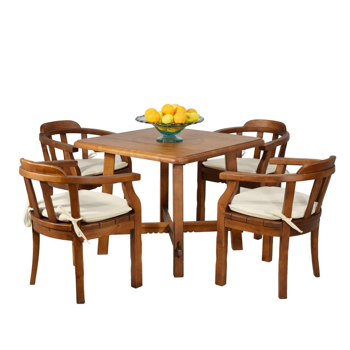 Mesa comedor cuadrada rústica