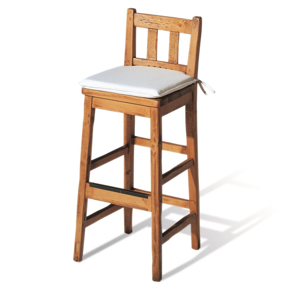 Taburete bar r stico de madera ecor stico venta de muebles for Taburetes de madera