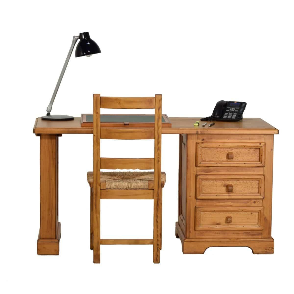 Escritorio r stico de madera peque o cajones ecor stico - Botelleros de madera rusticos ...