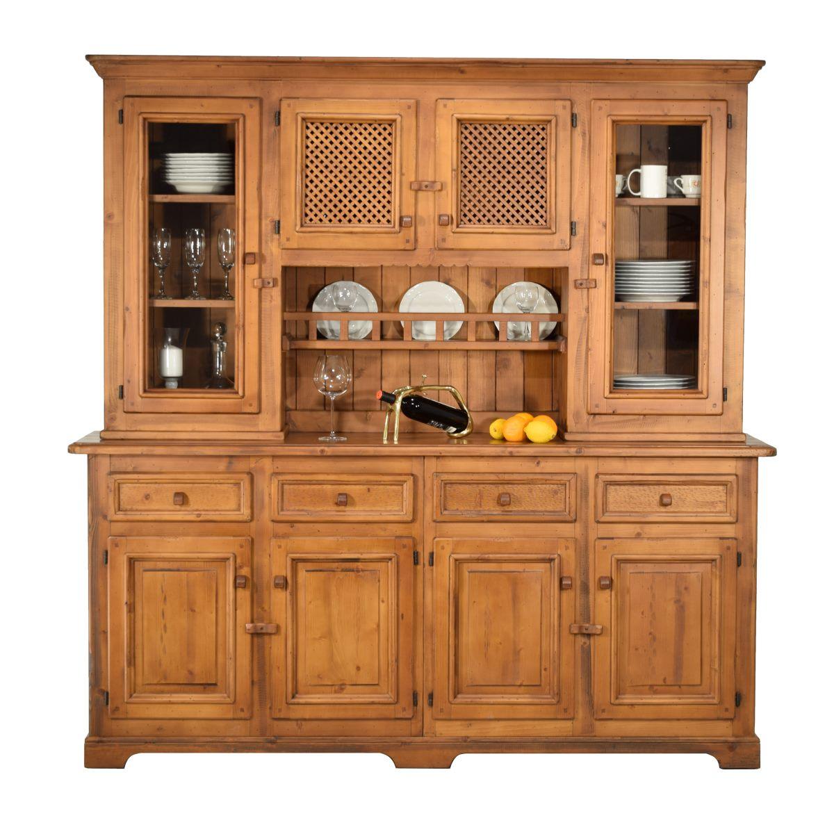 Aparador r stico de madera grande con altillo de puertas - Altillo de madera ...