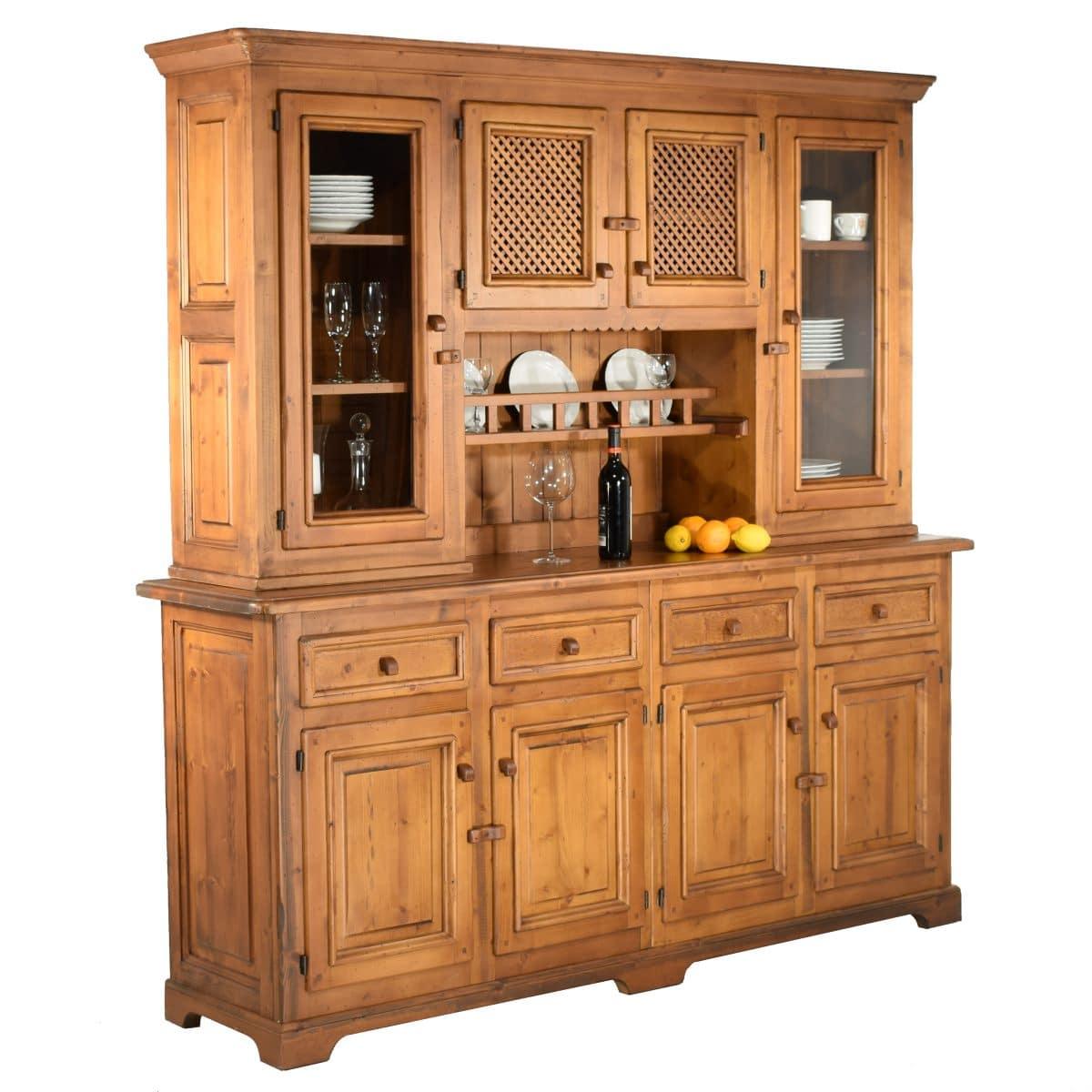 Aparador r stico de madera grande con altillo de puertas for Aparadores con espejo
